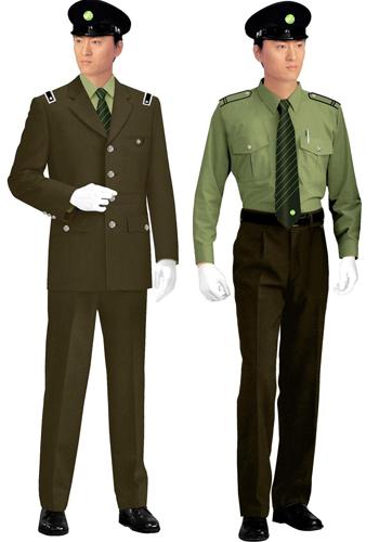 军绿色保安制服