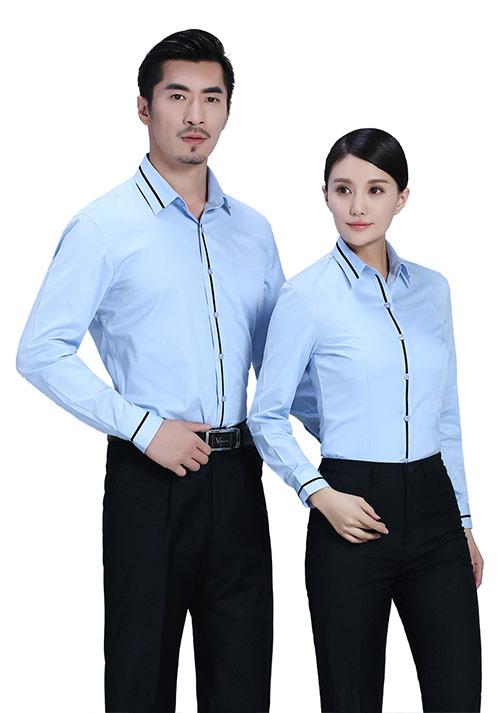 蓝色真丝衬衫工服