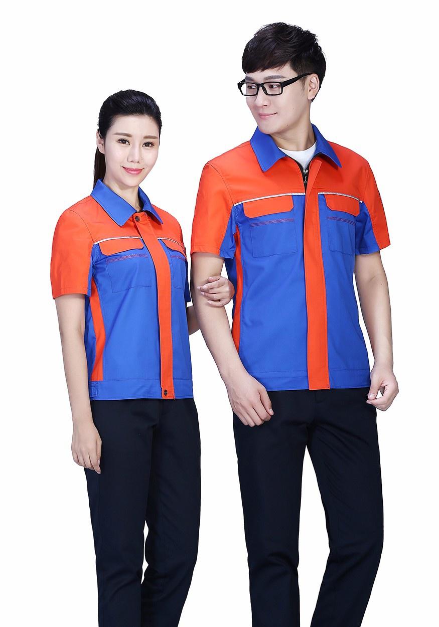 蓝色拼桔红夏季工服FY614