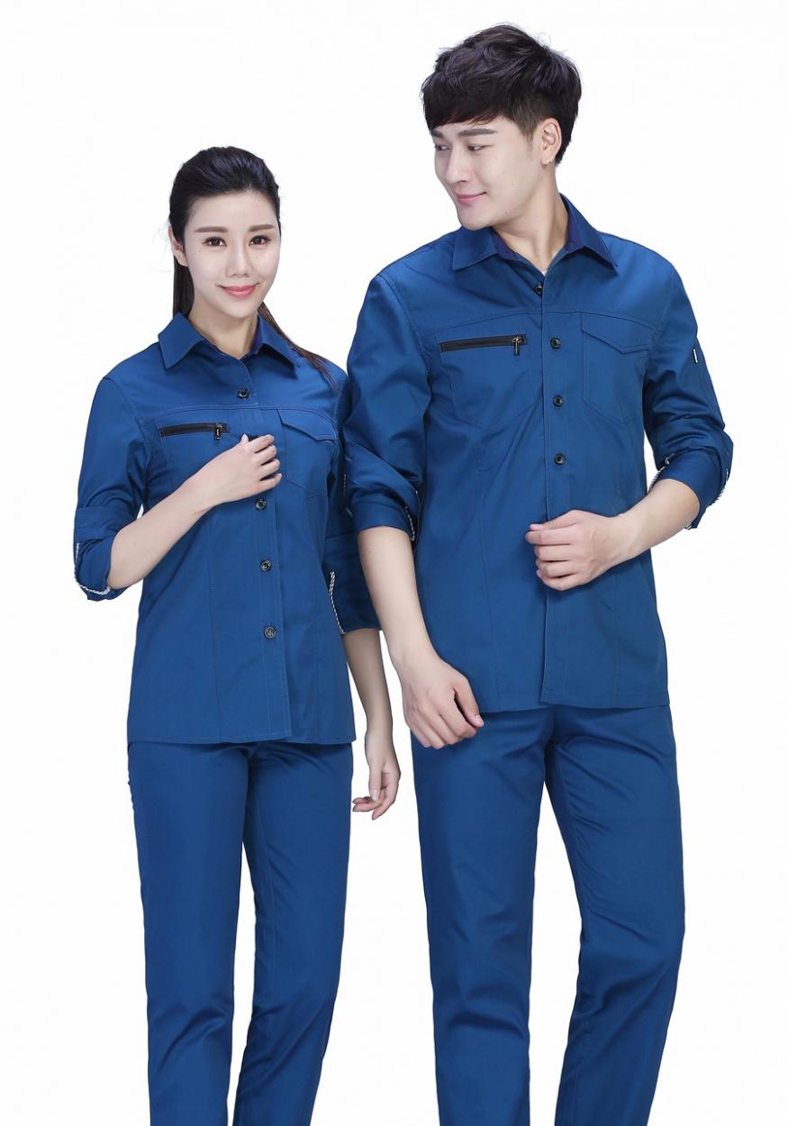 新款蓝色夏季工服FY636